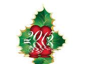 Christmas card of european holly Ilex — Stock Photo
