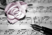 Rose on musical notes page — Foto Stock