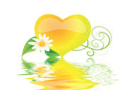 Heart with flowers in water — Stock Photo