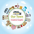 Stock Vector: Our Town with Lovely House Icons