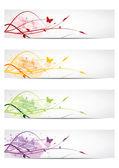 花柄のデザインのバナー — ストックベクタ