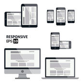 Responsive Web Design - Glossy Icon — Stock Vector