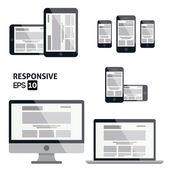 Responsive Web Design - Glossy Icon — Stock Vector