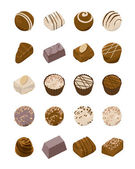 Assorted chocolate candies vector icon — Stock Vector