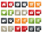Internet and Online Shopping Icon Set. Tag and Label Style — Stock Vector