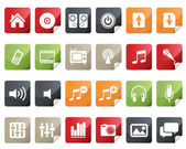 Internet and Multimedia Icon Set. Tag and Label Style — Stock Vector