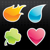 Glossy Icon (Fire, Water, Leaf, Heart) — Stock vektor