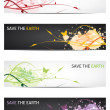 Save our earth - Floral design banners  — 图库矢量图片