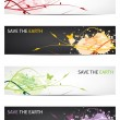 Save our earth - Floral design banners  — Imagen vectorial
