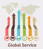 Global Service Idea Infographic — Stock Vector