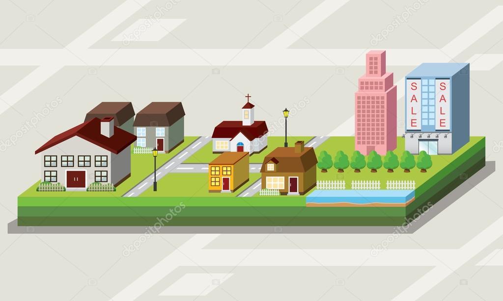 地图与可爱房子卡通风格图标