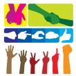 Gestures of hands. The big collection. — Stock Vector