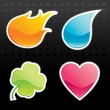 Stock Vector: Glossy Icon (Fire, Water, Leaf, Heart)