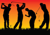 Vector graphic with 4 silhouette golf players — Stock Vector