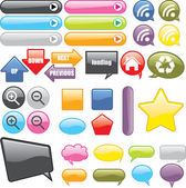 Web Buttons and Icons — Stock Vector