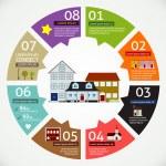 房子横幅信息图 — 图库矢量图片