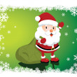 Stock vektor: Lovely Santa Claus with a big bag