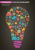 Online Shopping Idea Concept Design — Stock Vector