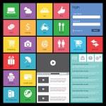 düz web tasarım, elemanları, düğmeler ve simgeler. Web sitesi şablonları — Stok Vektör