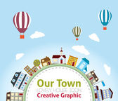 Our Town with Lovely House Icons (hot air balloon in the sky) — Stock Vector