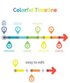 Colorful Timeline. Infographic template. Easy to Edit — Stock Vector