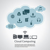 Computer technology, internet communication and cloud computing — Stock Vector