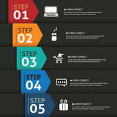 One two three four five- vector paper progress steps for tutoria — Stock Vector
