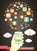 Mobile Cloud Service infographic — Stock Vector