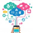Smart phones concept - cloud computing — Imagen vectorial