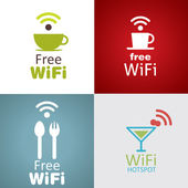 Wifi cafe icon set — Stock Vector