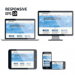 Responsive web design for different devices — Stock Vector #34738617