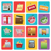 Flat Shopping icons — Stock Vector