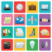 Flat Business icon set — Stock Vector