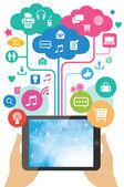 Vector mobile app development concept - hands holding tablet pc — Stock Vector