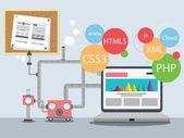 Web Design Factory — Stock Vector