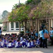 Stock Photo: Tour of school children in Royal Palace.
