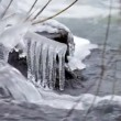 Sounds and noise Ice water of the river Suenga. Western Siberia. — Stock Video