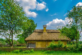 Ancient rural cottage with a straw roof — Stock Photo