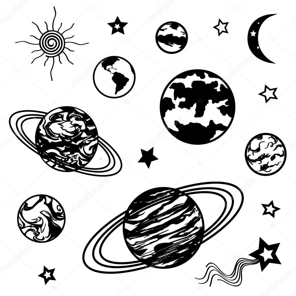 Рисунок планет черно-белый