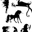 Stock Vector: Silhouette Magical creatures, vector illustration.