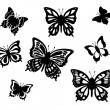 Black and white butterflies, vector illustration. — Stock Vector
