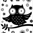 Stock Vector: Cute owl, black and white