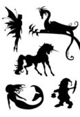 Silhouette Magical creatures, vector illustration. — Stock Vector