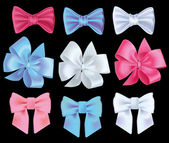Set realistic color bows, vector illustration. — Stock Vector