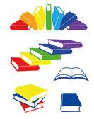 Helder gekleurde boeken, vectorillustratie. — Stockvector
