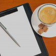 Blank notebook with pen and coffee — Stok fotoğraf