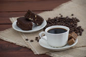 Coffee and brownies — Stock Photo