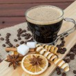 Foto Stock: Glass cup espresso coffee