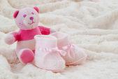 Pink baby booties — Stock Photo