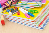 School Supplies on desk — Stock Photo